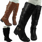 Womens Ladies Knee High Biker Low Heel Casual Calf Buckle Flat Boots Shoes Size