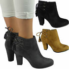 New Womens Ladies Lace Up High Heel Party Office Evening Ankle Boots Shoes Size