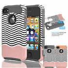 For Apple iPhone 4 4S Phone Case Hybrid Impact Armor Rubber Sturdy Cover Skin