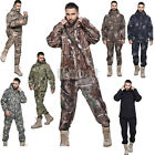 Soft shell Mens Military Tactical Jacket Outdoor Waterproof Hunting Coat+pants