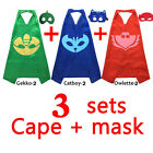 Kids Superhero PJ Masks Cape Mask Set Owlette Catboy Cosplay Costume Party