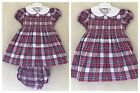 BABY GIRLS SPANISH STYLE SMOCKED DRESS DEEP PINK WHITE BLACK NAVY CHECK