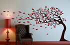 Tree Wall Sticker With Leaves Blowing In The Wind Decal Art 105cm x 155cm UK