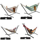 Garden Patio Double Hammock Swing w/ Space Saving Steel Stand Portable Carry Bag