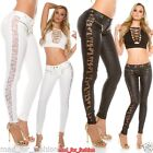 Sexy KouCla leather look trousers with lace and zips.UK 8.10.12.14
