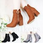 WOMENS LADIES ZIP TASSEL CHUNKY MID HIGH BLOCK HEEL WORK ANKLE BOOTS SHOES SIZE