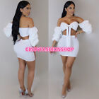 USA Women Summer Off  Shoulder 2PC Ruff Sleeve Tie-UP Sexy Club Wear Mini Dress