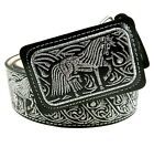 Mens Cowboy Belt Lether Color Silver Thread Cinto Charro Hilo Plata Horse Design