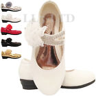 GIRLS KIDS CHILDREN WEDDING BRIDESMAID PARTY LOW HEEL SHOES SIZE 7-3