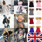 Womens Babies Winter Beanie Outdoor Chunky Knit with Double Fur Pom Pom Cute Hat