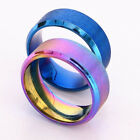 "Fashion 8mm Women Men Rainbow/Blue Color Stainless Steel Ring Band Size 6-13"" #A"