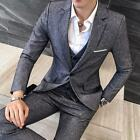 Retro Men Prom Dress Formal Slim Fit Blazers Vest Pants Groom Wedding 3pcs Suits