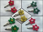 2 SATIN / METALLIC POINSETTIA SNAP HAIR CLIPS FLOWER GIRL WEDDING XMAS CHRISTMAS