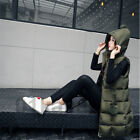 Women's Vest Long Down Jacket Hooded Zip Stand Collar Thicker Cotton Waistcoat