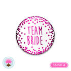 TEAM BRIDE White & Pink Foil Hearts 38mm PIN BADGE Hen Party, Night, Weekend, Do