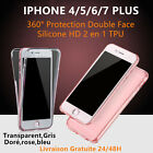 COQUE ETUI HOUSSE 3D 360° SILICONE PROTECTION TOTALE  IPHONE 8/X/ 7/Plus 6/6S 5S
