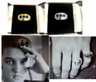 ELVIS 1956 3 stone RING  blue stones  STERLING SILVER