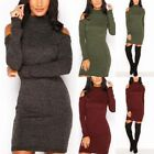 Womens Off Shoulder Bodycon Long Sleeve Ladies Party Evening Roll Neck Dress