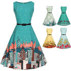 Vintage 50s 60s floral Rockabilly Swing Evening Party Pleated Dress Plus Size