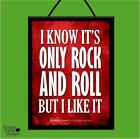 """ROLLING STONES """"IT'S ONLY ROCK & ROLL"""" WOODEN POSTER PLAQUE/SHABBY SIGN *LYRICS*"""