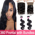 360 Lace Frontal with Bundles Brazilian Human Hair Body Wave 4x4 Lace Closure