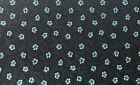 Blue Flowers on Black Cotton Quilting Fabric Sewing Crafts