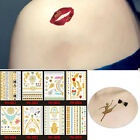 1Pc Body Tattoo Sticker Temporary Disposable Metallic Tattoo Gold Silver Flash