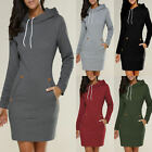 Womens Long Sleeve Bodycon Sweatshirt Mini Dress Sweater Hoodies Jumper Pullover