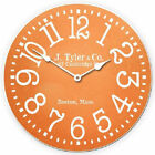 "Tangerine LARGE WALL CLOCK 10""- 48"" Whisper Quiet Non-Ticking WOOD HANDMADE"