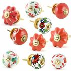 Red & White Ceramic pottery Drawer Knobs Door Cupboard Pulls Kitchen Knob puller