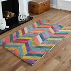 SMALL 60x120cm RUG SALE YELLOW ORANGE GREY BLUE WAVE MULTI COLOUR CLEARANCE RUGS