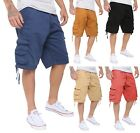 Mens Casual Slim Fit Cotton Solid Multi-Pocket Cargo Twill Shorts