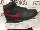 2017 AIR JORDAN 1 BRED MID MEN'S Anthracite/Gym Red-White SHOES 554724-045 8-13