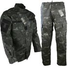 MENS ACU RIPSTOP OUTFIT TROUSERS SHIRT ARMY SAS BLACK CAMO PAINTBALLING AIRSOFT