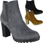 Womens Ladies Faux Suede High Heel Work Office Ankle Chelsea Boots Shoes Size