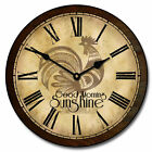 "Sunshine Rooster LARGE WALL CLOCK 10""- 48"" Whisper Quiet Non-Ticking WOOD HANDMA"
