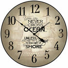 "Courage Nautical LARGE WALL CLOCK 10""- 48"" Whisper Quiet Non-Ticking WOOD HANDMA"