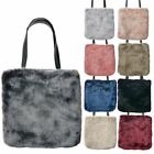 NEW ON TREND LADIES FLUFFY FAUX FUR TOTE TWIN HANDLES SHOULDER BAG