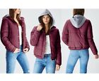 Women's Casual Warm Quilted Puffer Jacket with Hoodie Buttons Zipper Insulation