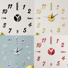 Modern Large 3D Mirror Surface Wall Clock Sticker Home Office Room DIY Decor BR