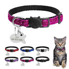 Personalised Bling Sequins Breakaway Cat Collars Dog Tags for Puppy Kitten