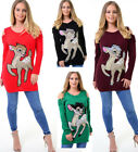 Ladies Cold Shoulder Bambi Deer Knitted Jumper Top Christmas Xmas Sweater
