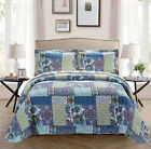 Fancy Linen Oversize Reversible Bedspread Floral Blue Teal Green All Sizes New  image