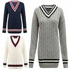 Ladies Knitted Loose Ribbed Cuffs Cricket Jumper Womens Long Sleeve Sweater Top