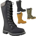 Womens Ladies Knee High Army Combat Winter Boots Timbs Lace Up Winter Shoes Size