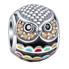 Wise Owl Charm Bead - 925 Sterling Silver - Graduation Christmas gift of Wisdom