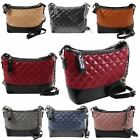 Womens New Two Tone Quilted Faux Leather Chain Strap Shoulder Bag