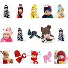 New Winter Baby Toddler Girl Boy Warm Cute Panda Hat Cap Beanie Scarf Set Kids