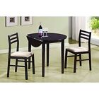 Dining Set 3Piece Breakfast Nook Round Top Cream Padded Seats Cappuccino Finish