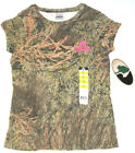 Mossy Oak Brush Girls Camo T Shirt Short Sleeve Crew Camouflage Youth S or L NWT